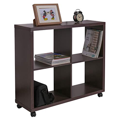 GreenForest Storage Shelf Square 4 Cube Storage Organizer with Wheels for Home Office, Walnut