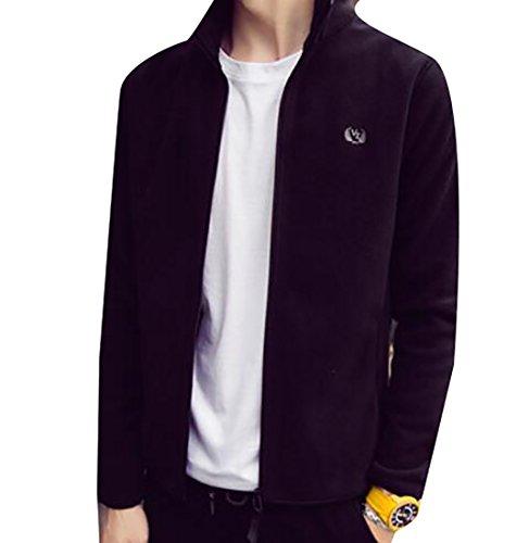 Solid front Slim Fleece Jacket Men's Black Collar MU2M Coats Zip Stand Fit Outdoor q8wWtgZ