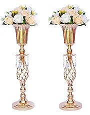 LANLONG 2 stks Tall Metalen Bruiloft Centerpieces voor Receptie Tafels, Gouden Bloem Vaas Stand, Base Decoratie voor Feest, Evenementen, Verjaardag, Viering Ceremonies Home decor (kleur, 2X59cm)