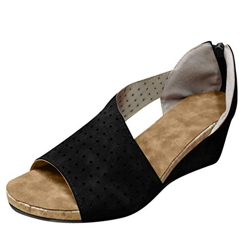 ◕‿◕Watere◕‿◕ Womens Wedges Sandals Shallow Mouth Peep Toe Beach Casual Shoes Roman Sandals Black