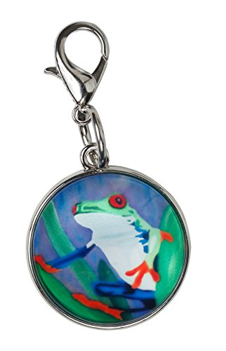 Frog Animal Charm - Frog Zipper Pull Charm, Bag Charm Lobster Claw Clasp -Animal - Wearable Art (Frog- Kaleidoscope)