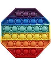 LXXIASHI Pop Fidget Brinquedos para Ansiedade, Push Pop Pop Brinquedo Sensorial de Bolha, Brinquedo de Silicone Alívio de Estresse (Octogonal - Estilo Arco-íris 3, 1 peça)