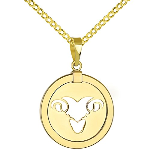 14K Yellow Gold Reversible Round Ram Aries Zodiac Sign Pendant with Cuban Chain Necklace, 24