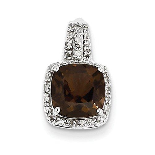 Argent Sterling diamant et Quartz fumé pendentif Femme-Carré-JewelryWeb