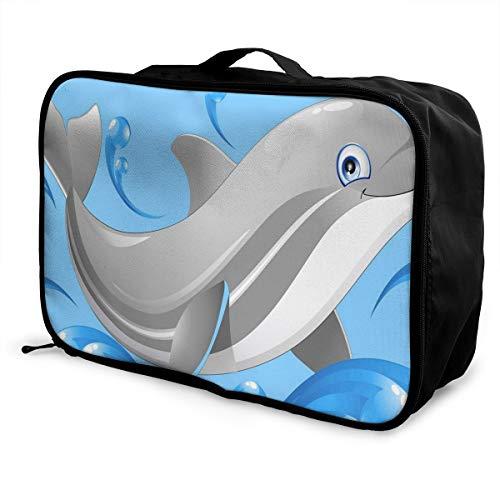 Travel Bags Dolphin Splash Ocean Portable Tote Trolley Handle Luggage Bag