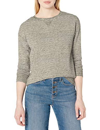 Amazon Brand - Daily Ritual Women's Terry Cotton and Modal Crewneck Sweatshirt, Heather Grey Spacedye, Large