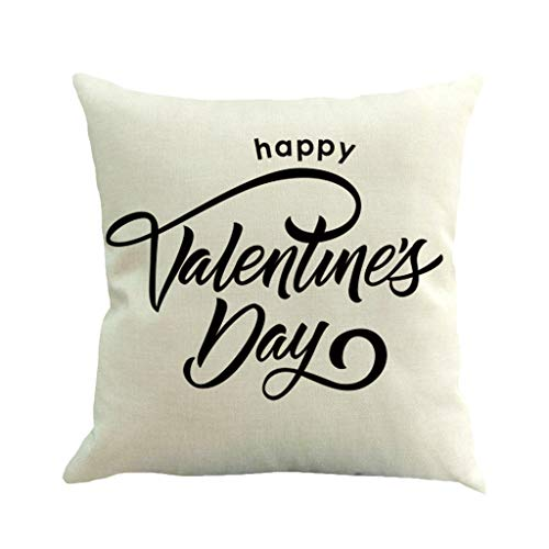 scamper Throw Pillow Case Pillowcase Happy Valentine's Day I Love You Hearts Flax Home Decor Cushion Cover Words 45cmX45cm