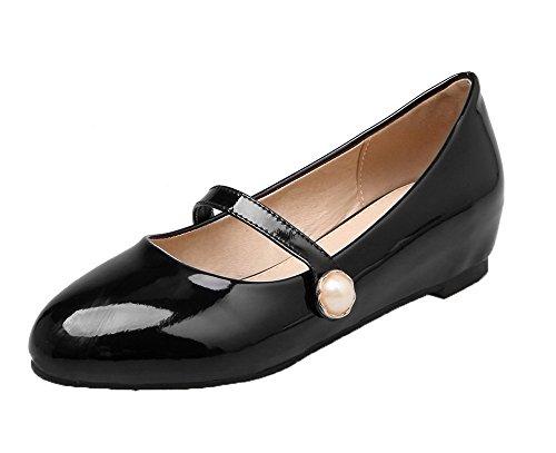 Amoonyfashion Vrouwen Lakleder Lage Hakken Ronde Gesloten Teen Pumps-schoenen Zwart