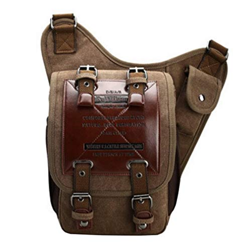 Canvas pocket Men's Multi Purse Style2 Brown Crossbody 7kinds Bags Shoulder Comvip Handbag wOaE7q1w