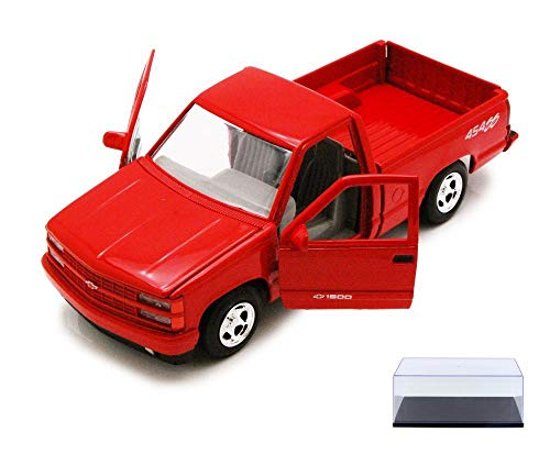 454ss Pickup (Motor Max Diecast Car & Display Case Package - 1992 Chevy 454SS Pick Up Truck, Red 73203AC - 1/24 Scale Diecast Model Toy Car w/Display Case)