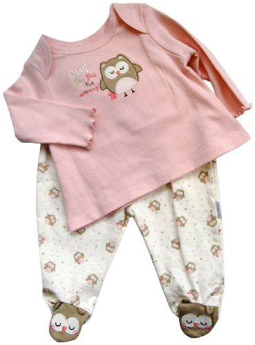 Vitamins Baby Baby-girls Newborn Owl See You 2 Piece Footed Pajama Set