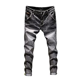 NEARTIME Men Slim Jeans, Fashion Men's Autumn Casual Vintage Denim Hip Hop Work Trousers Washed Straight Pants