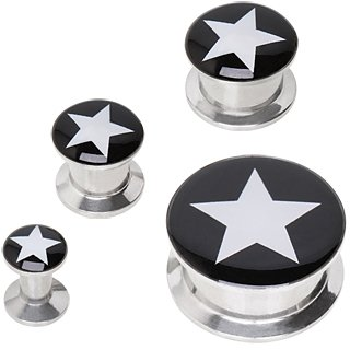 316L Surgical Stainless Steel Double Flare Screw Fit Plugs with UV Coated Acrylic Star Logo/Black Background - 8G (3.2mm) - Sold as a Pair ()