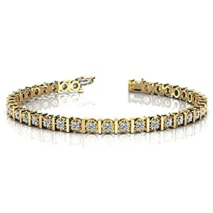 14K Yellow Gold Diamond Illusion Round Brilliant Prong Set Tennis Bracelet (1.56ctw.) - Size 9.5