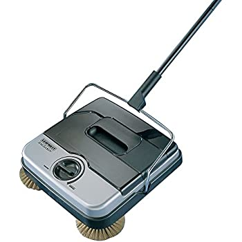 Leifheit 11410 Classic Manual Rotaro Carpet Sweeper with Natural Brushes, Black and Gray