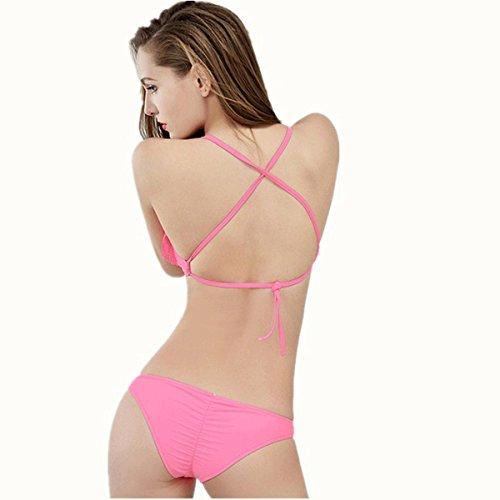 Damen Hollow Mesh Bikini / Split Triangle Bikini , L