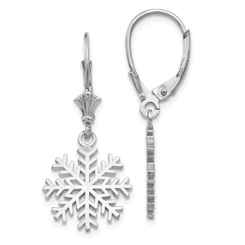 14k White Gold 3 D Snowflake Leverback Earrings Lever Back Outdoor Nature Fine Jewelry Gifts For Women For Her