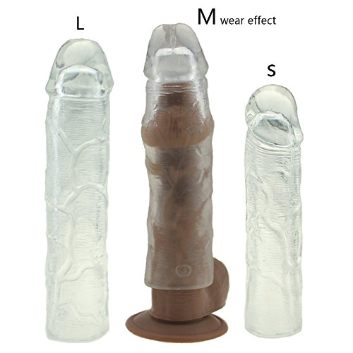 Dimlan 3PCS Reusable Penis Sleeve Extender Clear Silicone Extension Sex Toy Cock Enlarger Condom Sheath Delay Ejaculation Toys for Men (3pcs Small, Medium and Large Included).63-2