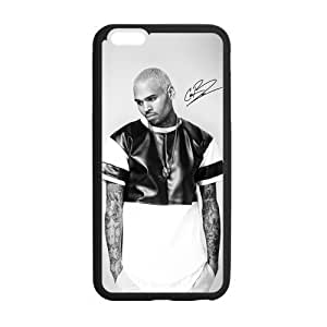 Custom Black and White Chris Brown Print Phone Case Laser Technology for iPhone 6 Plus Designed by HnW Accessories