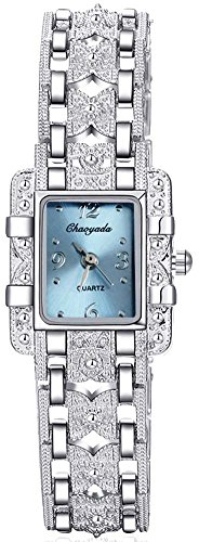 ChezAbbey Women's Royal Roman Style Square Crystal Studded Dial Quartz Wrist Watch With Stainless Steel Bracelet, Blue - Roman Blue Womans Royal Dress