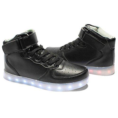 [Present:kleines Handtuch]JUNGLEST High-Top mit Velcro 7 Farbe LED Leuchtend Sport Schuhe Glow Sneakers USB Aufladen Turnschuhe für Unisex Herren Dam Schwarz