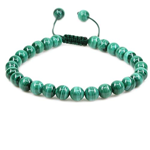 - Natural AA Grade Malachite Gemstone 6mm Round Beads Adjustable Bracelet 7