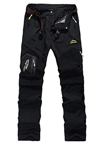Men's Stretch Waist Convertible Quick-dry Pants Black 3XL -ASIAN