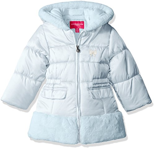 London Fog Little Girls' Toddler Faux Fur Bottom and Hood Matte Shimmer Satin Jacket, Blue, 3T