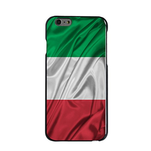DistinctInk Case for iPhone 6 Plus / 6S Plus - Custom Ultra Slim Thin Hard Black Plastic Cover - Italian Flag Italy Waving Red White Green - Show Your Love of Italy