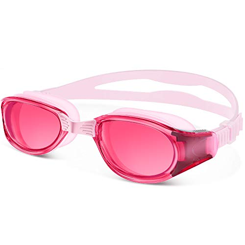 OutdoorMaster Swimming Goggles - Wide View Swim Goggles Interchangeable Nose Bridge, Shatterproof Anti-Fog Lens & 100% UV Protection Men, Women, Adult & Youth - Pink
