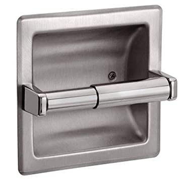 recessed chrome toilet paper holder with cover gatco the best brushed nickel home depot