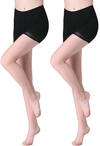 - Vinconie Women Lace Leggings Under Dress Shorts Plus Size Skimmies Yoga Pants,Large / 14/16,Dark Black