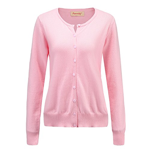 Panreddy Women's Wool Cashmere Classic Cardigan Sweater XL (Pink Cashmere Cardigan)