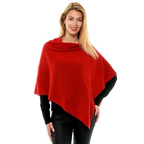 Womens 100% Cashmere Poncho 2 Plys Classics - Deep Red ()