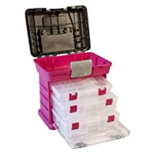 Creative Options 1363-85 Grab N' Go Rack System with Two No.2-3630 Deep Pro-Latch Organizers and One Organizer, Magenta/Sparkle Gray