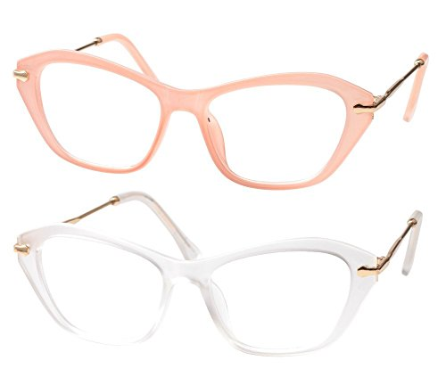 SOOLALA Womens Quality Fashion Alloy Arms Cateye Customized Reading Glasses, PinkTrans, 0.75