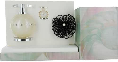 J DEL POZO IN WHITE by Jesus del Pozo Gift Set for WOMEN: EDT SPRAY 3.4 OZ & EDT .15 OZ MINI & BROOCH