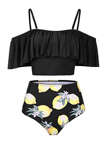 Kaei&Shi Strapless,Strappy Swimwear,Lemon High Waisted Flounce Bikini Set,Tummy Control Swimsuits for Women,Off Shoulder Bathing Suit Black Lemon X-Large