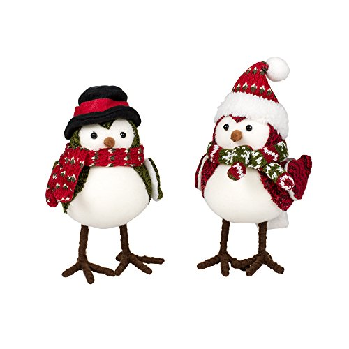 Mr. & Mrs. Winter Corduroy Birds 6.5 Inch Knit Tabletop Figurines Set of 2 from Delton Products Corp