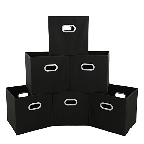 Black Storage Bedroom Sets (MAXhouser Fabric Storage Bins Cubes Baskets Containers with Dual Plastic Handles for Home Closet Bedroom Drawers Organizers, Flodable, Black, Set of 6)