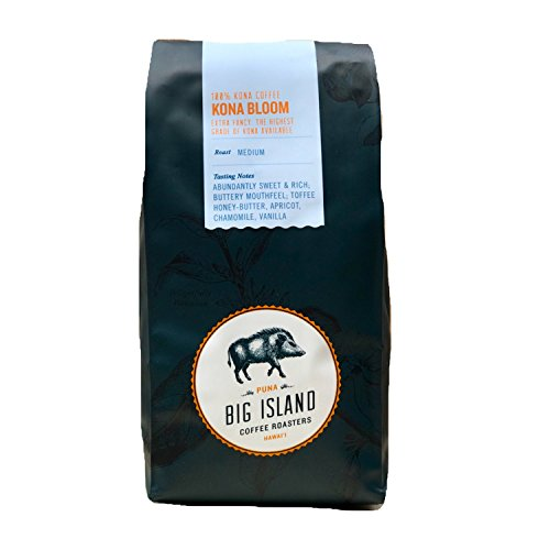 100% Kona Coffee - Whole Bean 'Kona Bloom' (Extra Fancy) Premium Hawaiian Kona Coffee Beans. Medium Roasted by Big Island Coffee Roasters (10 oz).