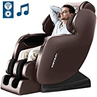 KTN Zero Gravity Full Body Massage Chair Recliner with Hear Foot Roller & Bluetooth (Brown)