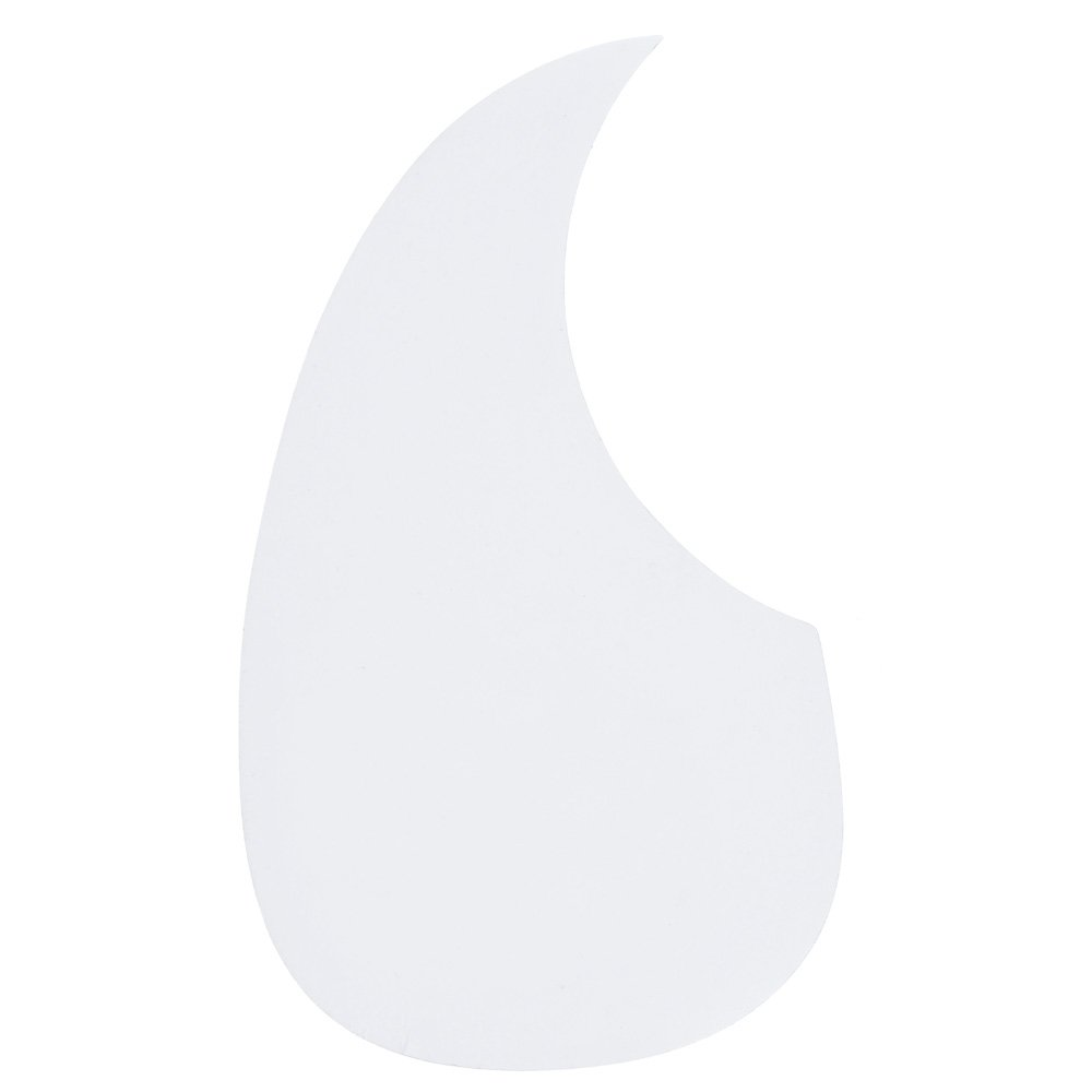 Kmise A6663 1 Piece White Comma Shaped Acoustic Guitar Pickguard Soft Adhesive