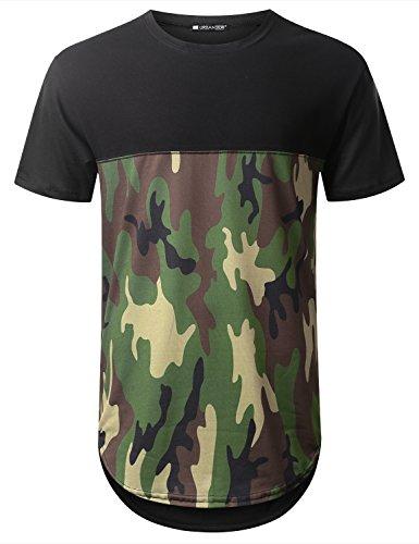 URBANTOPS Mens Hipster Hip Hop Camo Bottom Panel Longline T-shirt BLACK, L