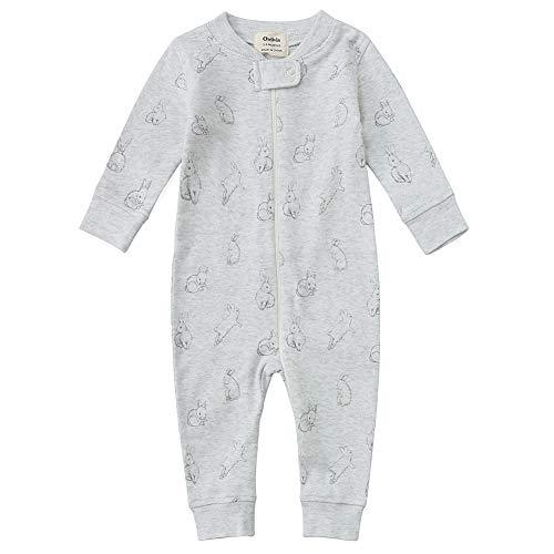Owlivia Organic Cotton Baby Boy Girl Zip up Sleep N Play, Footless, Long Sleeve(18-24Months,Gray Rabbit)