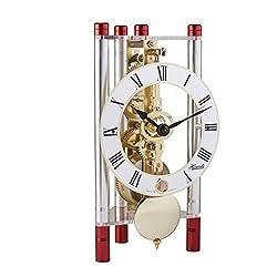 Hermle 23023T40721 Lakin Triangular Table Clock - Silver & Red with Roman Metal Dial & Brass Pendulum