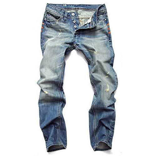 Pantalones Vaqueros Del Dril De Los De De Hombres Algodón Ropa Mezclilla Pantalones Vaqueros Rasgados Relajados Delgados De La Cintura Media De Los Pantalones Vaqueros Ocasionales De La Vendimia Azul