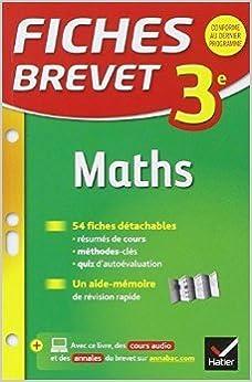 Libérez le téléchargement de livres Fiches Brevet Maths 3e: fiches de révision de Bernard Demeillers ( 8 avril 2015 ) B015YMSRFS PDF