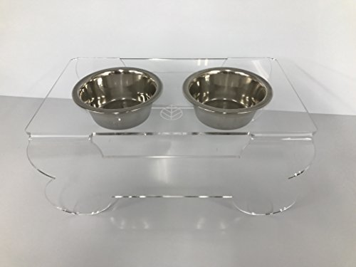 Spero Goods Ergonomic Elevated Dog Bowl Feeder Stand – Handcrafted in USA (clear acrylic, mini/small/medium sizes, with bowls) (Mini) For Sale