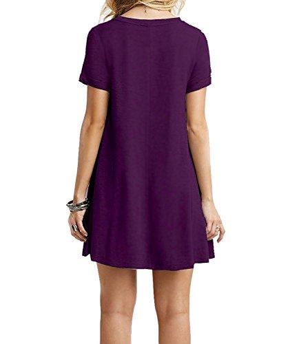 Molerani Casual Simple À Manches Courtes Pour Femmes Simples T-shirt Robe Lâche 09purple